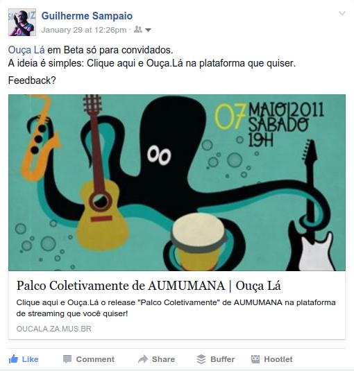 Ouça.Lá - Release - Compartilhamento em Redes Sociais - Facebook